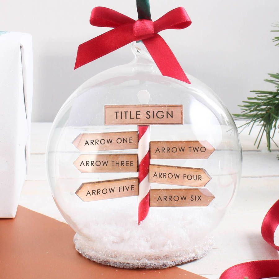 Personalised Family Christmas Sign Post Bauble Christmas