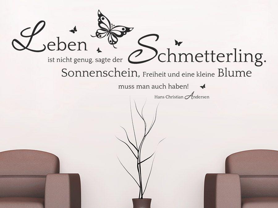 Beautiful Andersen Zitat Wandtattoo Der Schmetterling auf heller Wand