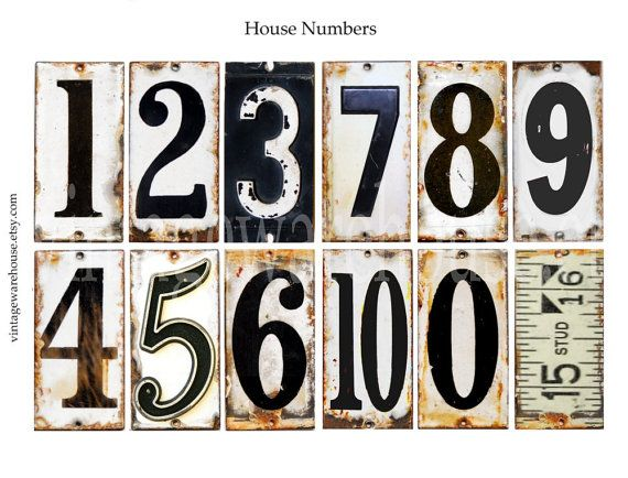 Antique House Numbers Grungy French Enamel Metal Numbers Digital Download Industrial Look Collage Sheet Numbers Typography House Numbers Antique House