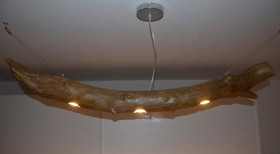 Plafoniere Con Legno : Tree trunk ceiling lamp wooden chandelier reclaimed wood natural