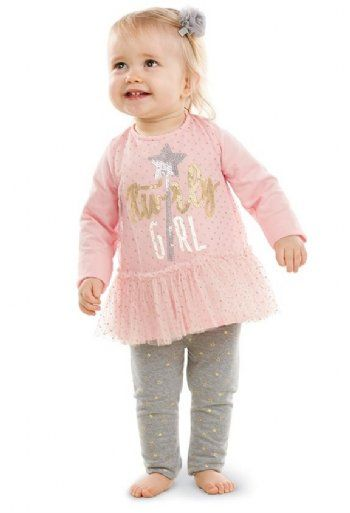 Mud Pie Infant Baby Girls Tunic /& Legging Set Twirly Girl Pink Gray Gold New