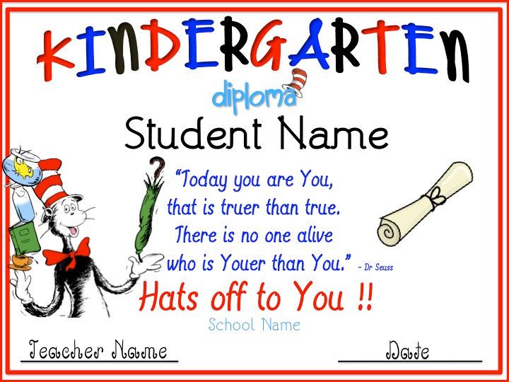 Cat in the Hat Kindergarten Graduation Diploma. $4.00, via Etsy ...
