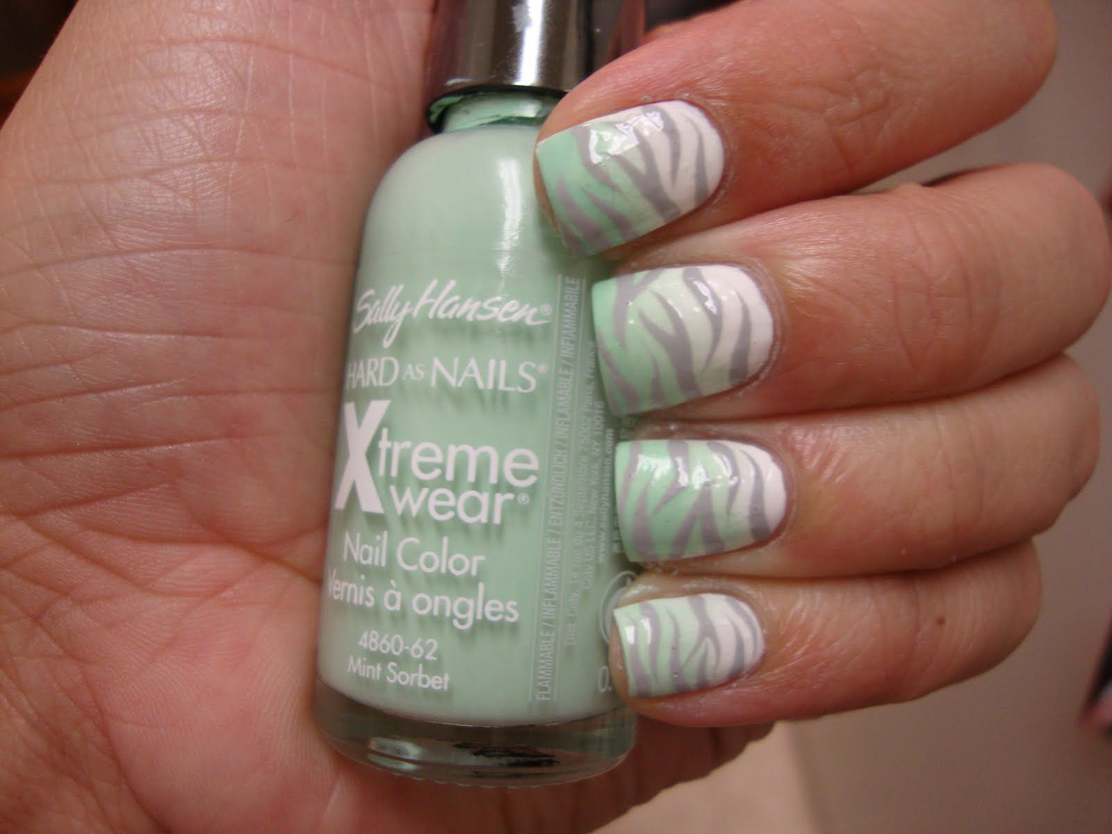 mint, white, and grey zebra nails... ok i love this... for toes? it ...