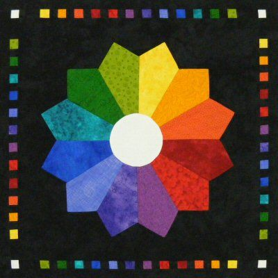 Victoriana Dresden Colour Wheel Quilt Wallhanging Pattern http://www.victorianaquiltdesigns.com/VictorianaQuilters/PatternPage/VictorianaDresdens/ColourWheel.htm #quilting #Dresden #ColorWheel