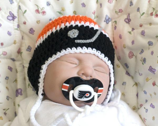 promo code 24667 41aec usa philadelphia flyers baby hockey hat nhl pacifier crochet black orange  b3332 afc75