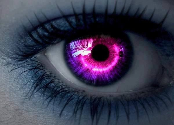 purple/pink eye contact