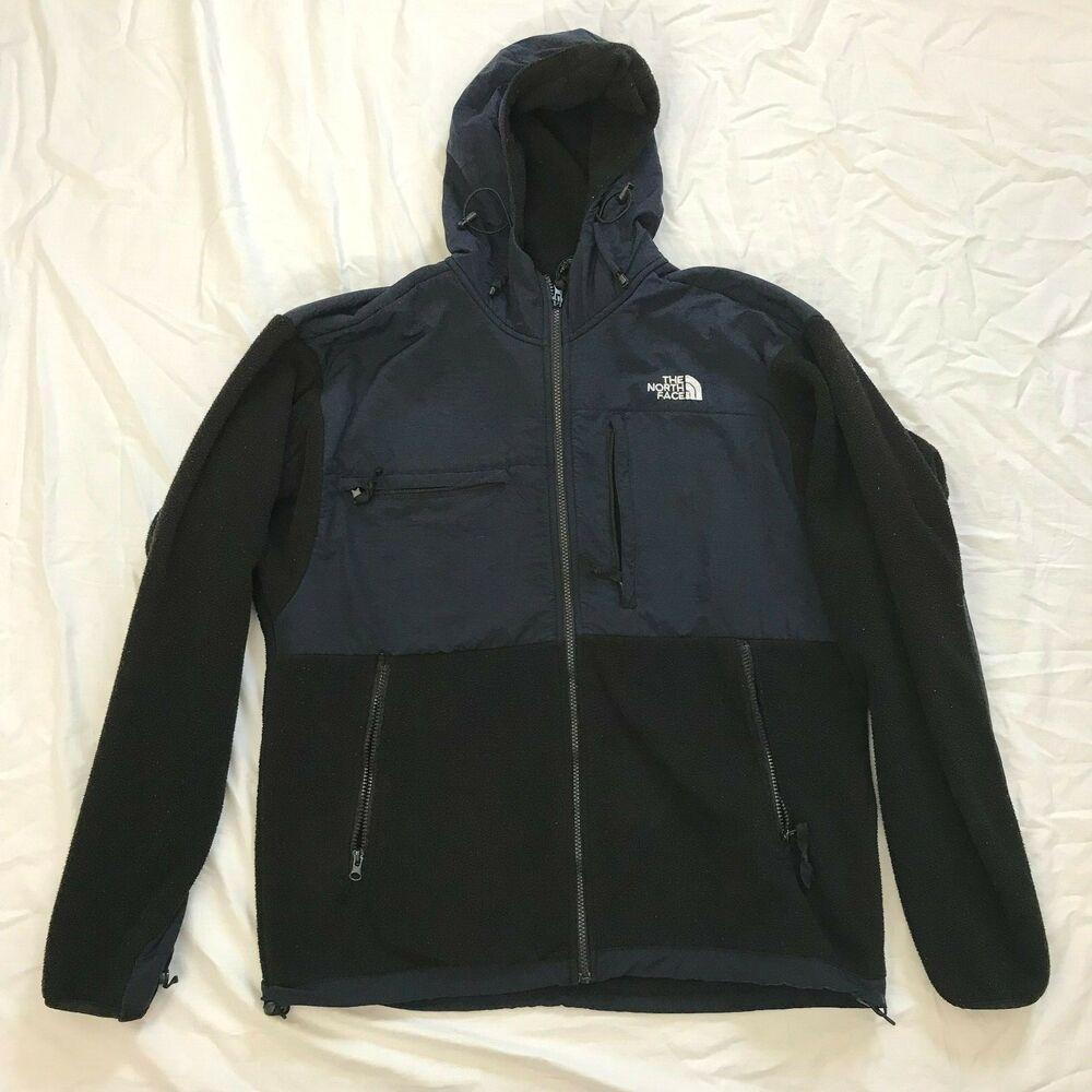 The North Face Mens Size L Navy Blue Black Fleece Full Zip Hoodie Jacket Thenorthface Parka North Face Jacket The North Face Fleece Jacket [ 1000 x 1000 Pixel ]