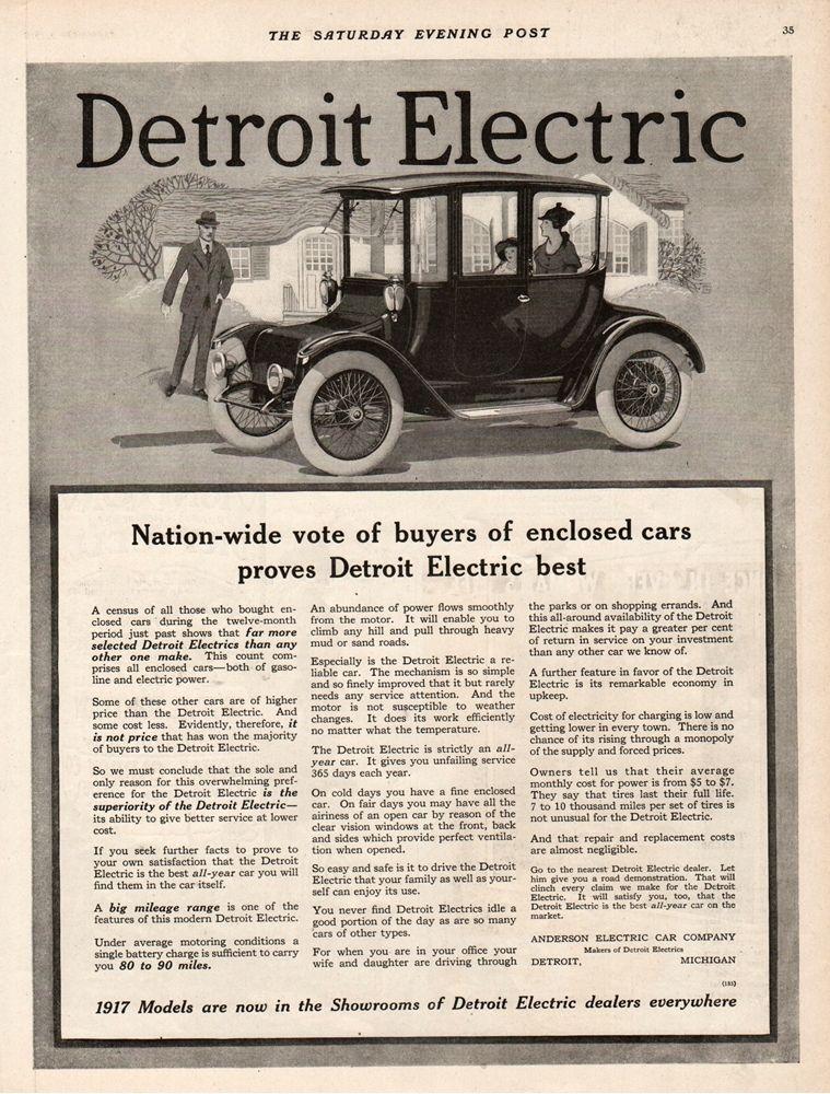 1917 Anderson Electric Car Company Detroit Michigan Vintage 1916 ...