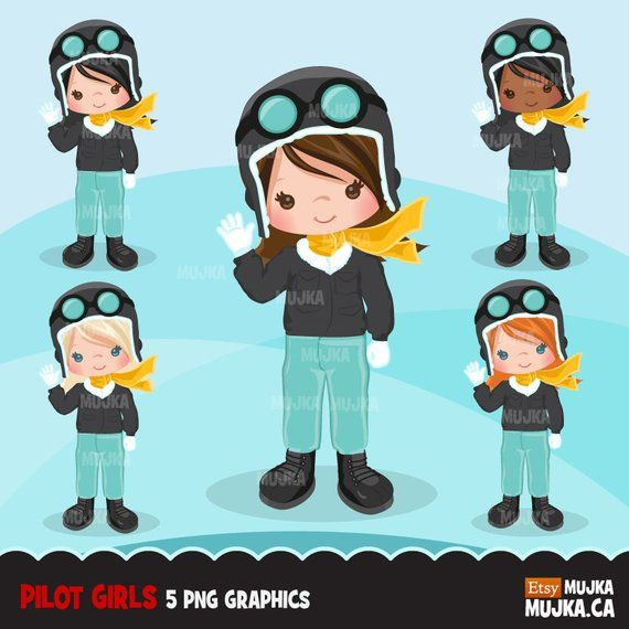 Young african-american female pilot ... | Stock vector | Colourbox
