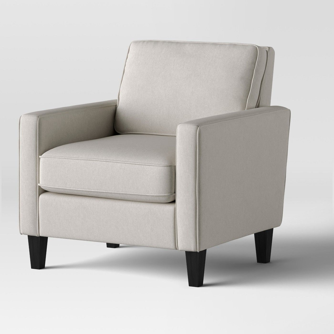 Elmhurst modern loose back cushion chair beige project 62 image 3 of 5