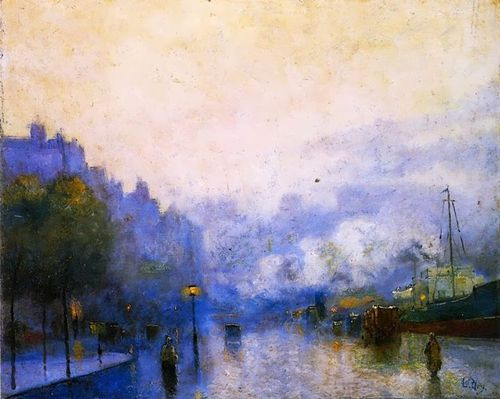Rainy Day in London , thames Port - Lesser Ury  Impressionism