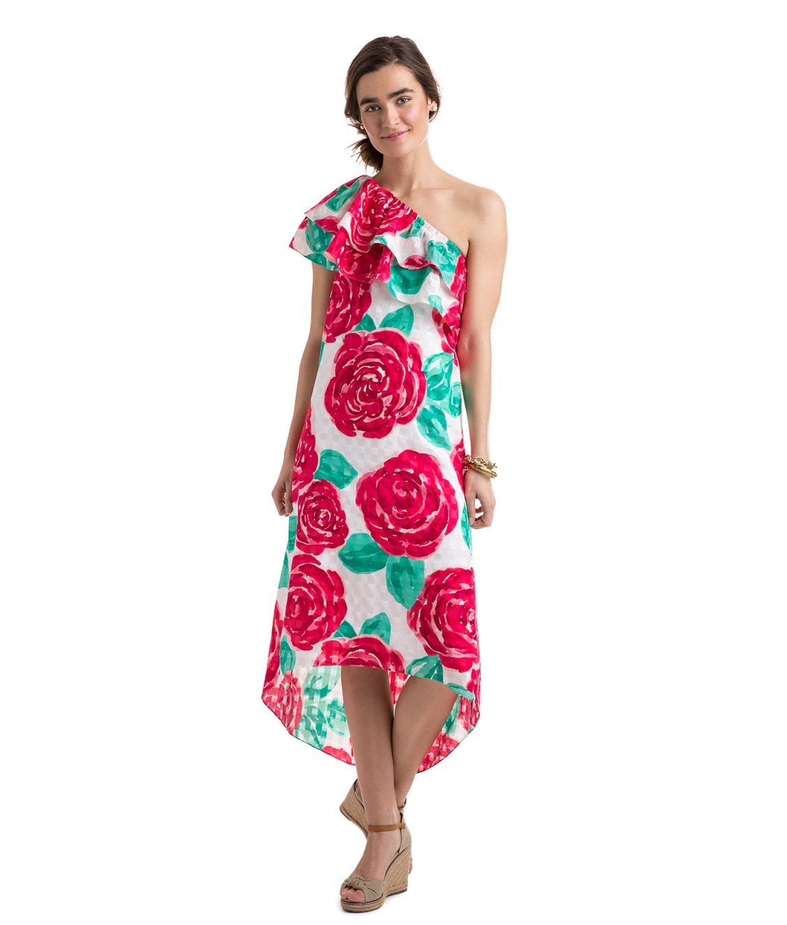 e6879e53c362 Run For The Roses One Shoulder Dress. Vineyard Vines 2018 Kentucky Derby.  Click to shop!