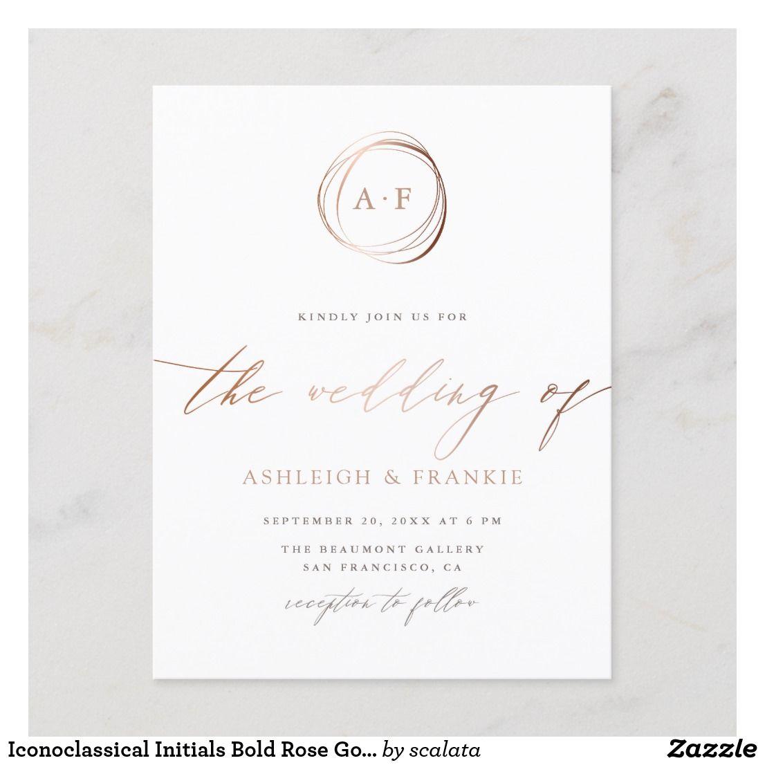 Iconoclassical Initials Bold Rose Gold Wedding Invitation Postcard Zazzle Com Rose Gold Wedding Invitations Postcard Wedding Invitation Wedding Invitations