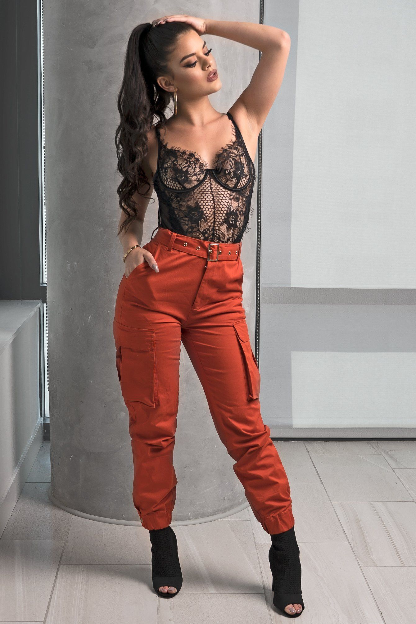 22e6c569320 Orange Belted Cargo Pants Orange Bodysuit