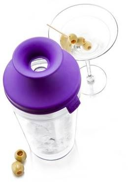 Apparently I'm not the only one who wrestles with cocktail shakers. This Vacu Vin model with a silicone lid solves that problem.