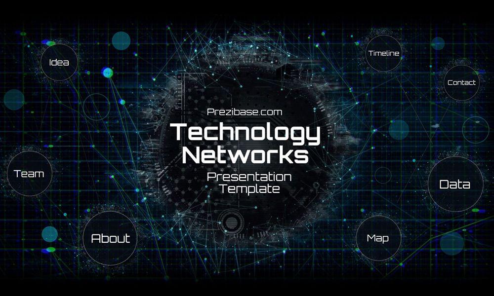 Dark Technology Network Futuristic Presentation Template For Prezi Prezi Templates Powerpoint Templates Presentation Templates