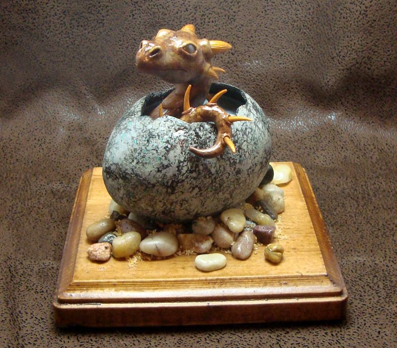 Red Clay Dragon: Dragon Hatchling Sculpture