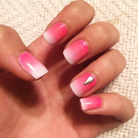 pink ombré nail  nails pink ombre nails sparkly nails