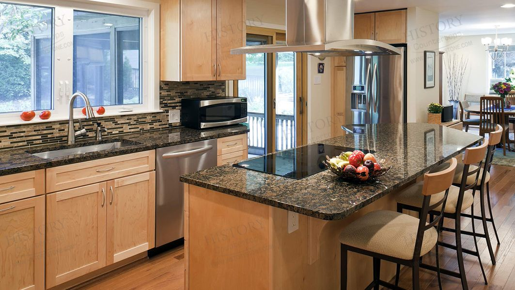 Best Cheap Custom Imported Baltic Brown Granite Kitchen ... on Black Granite Countertops With Brown Cabinets  id=90953