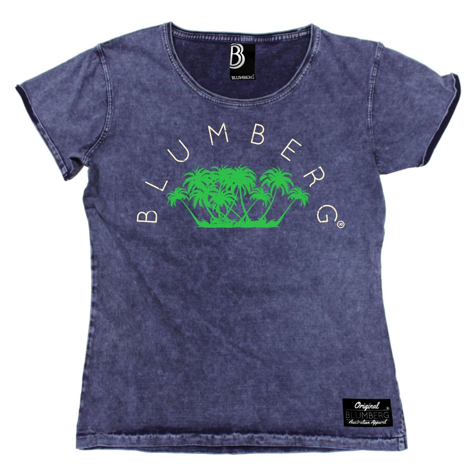 Blumberg Australia Women's Palm Trees Design Premium Denim T-Shirt