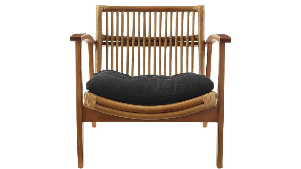 Noelie Rattan Lounge Chair with Black Cushion + Reviews ...
