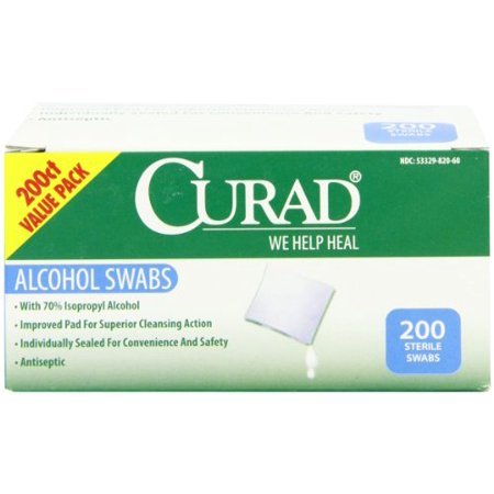 Curad Alcohol Swabs, 1 x 1, 200/Box, White in 2019