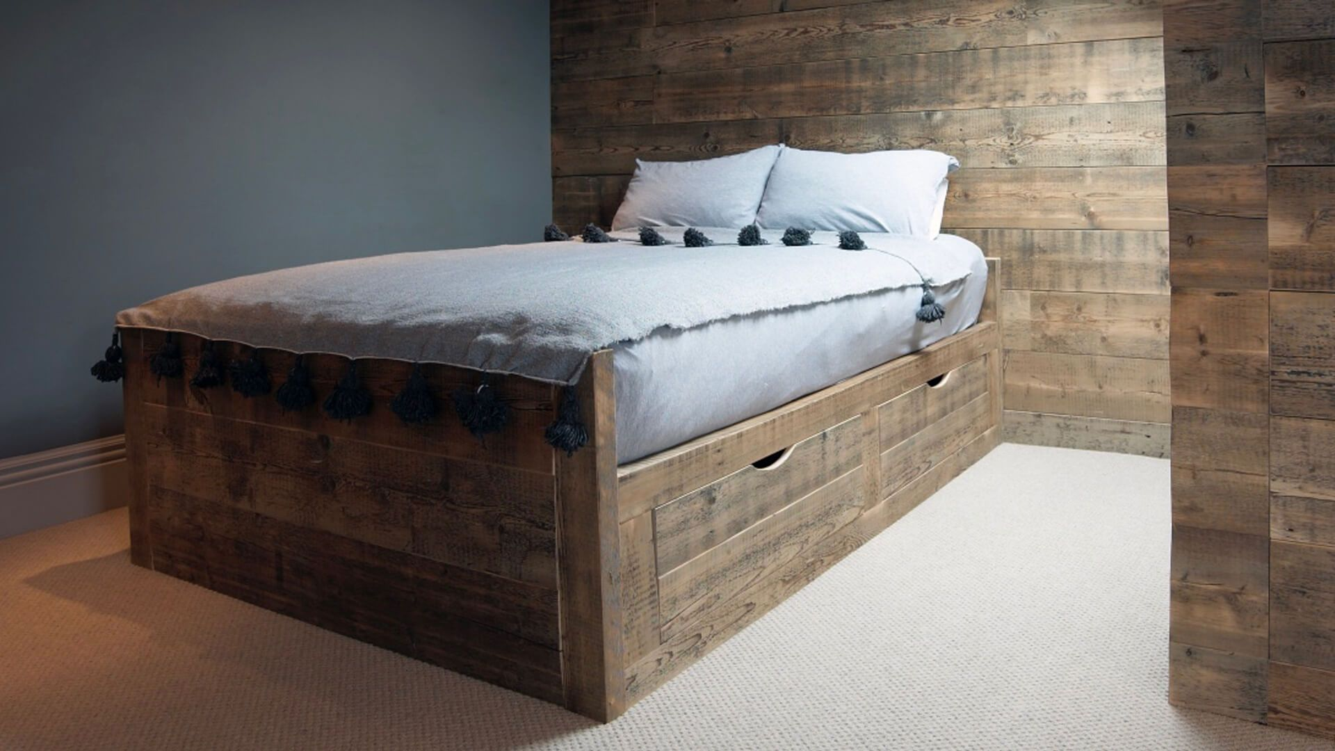 Bespoke Wooden Furniture Reclaimed Pine Bed Wardrobe And Wooden Wall Panelling Born Of Wood Furniture Reclaimed Pine Bed Wooden Panelling