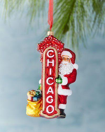 Santa Claus in Chicago Ornament   Ornaments, Hand blown glass, Travel ornament