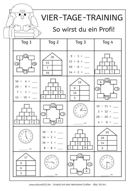 Vier-Tage-Mathe-Training (Zahlenraum bis 20) -   Math and School