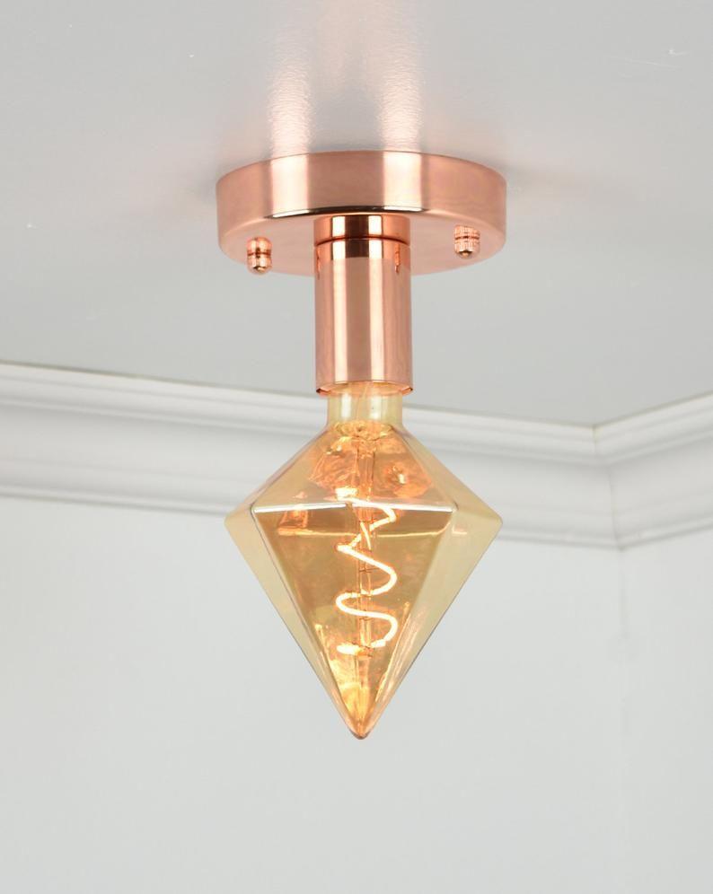 Modern Flush Mount Ceiling Lamp Diamond Led Polished Copper Ceiling Fixture Luces De Techo Lamparas De Techo Techo De Cobre