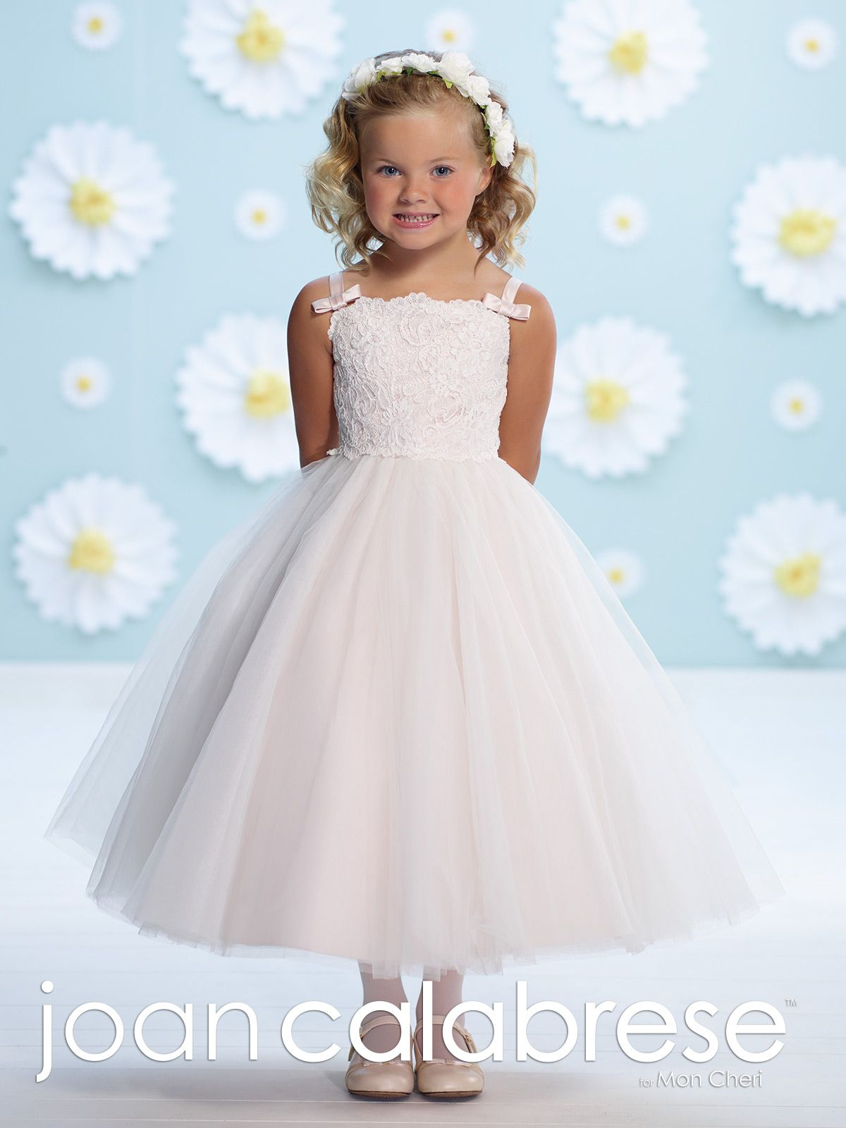 Vintage Young Girls Formal First Communion Baptism Dress Sheer White Ruffled Lace Trim Big Bow I160