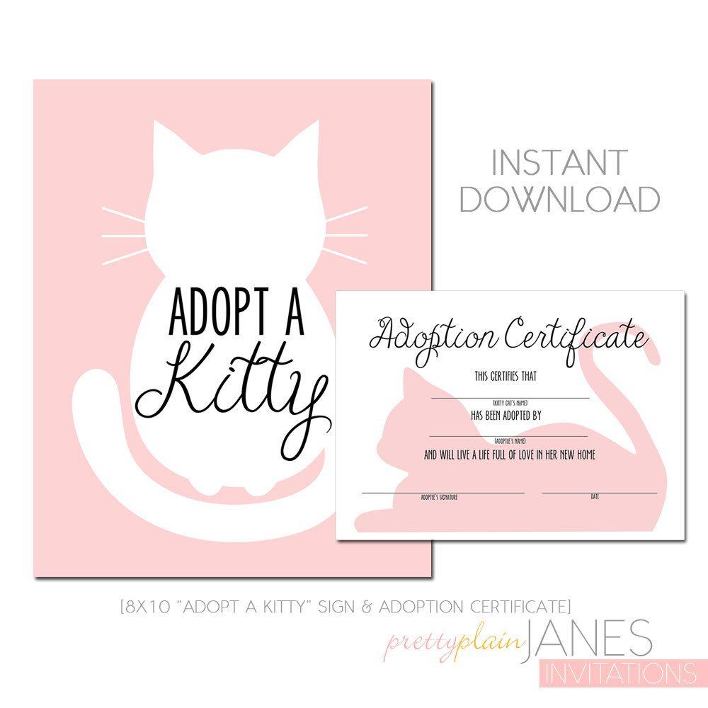 Kitty Adoption Kitty Cat Party Printable Kitty Cat Etsy Cat Party Kitten Birthday Party Kitten Party