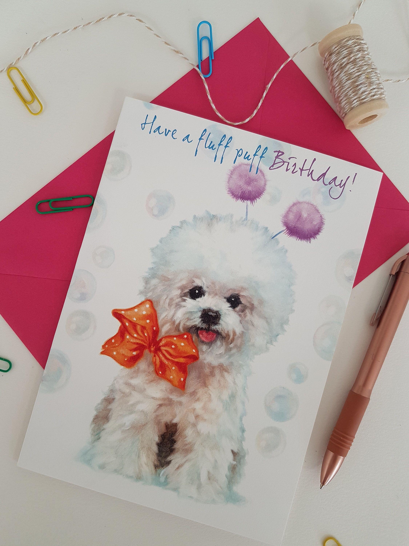 Bichon frise birthday card bichon frise designcute dog