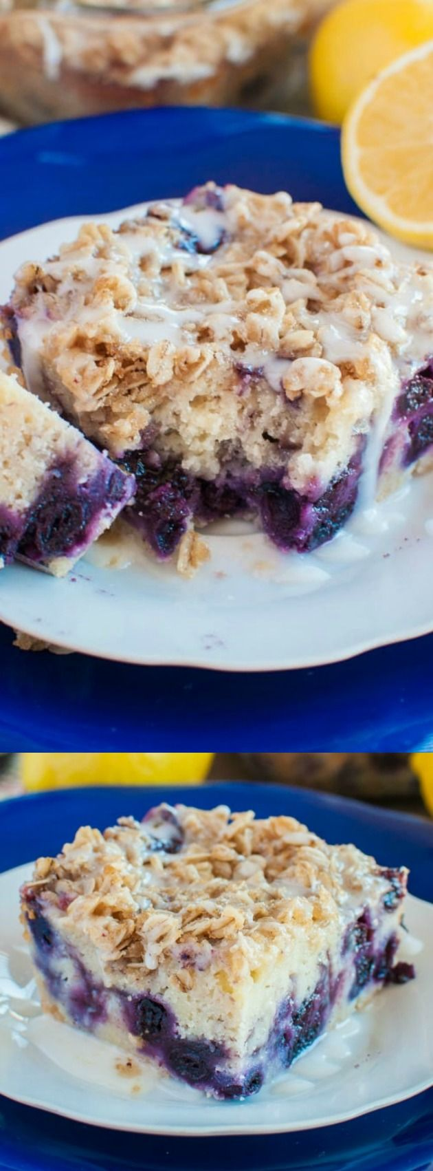 This Lemon Blueberry Coffee Cake from Back For Seconds is absolutely delectable! Rich cake loaded with blueberries is topped with streusel and a lemon glaze!