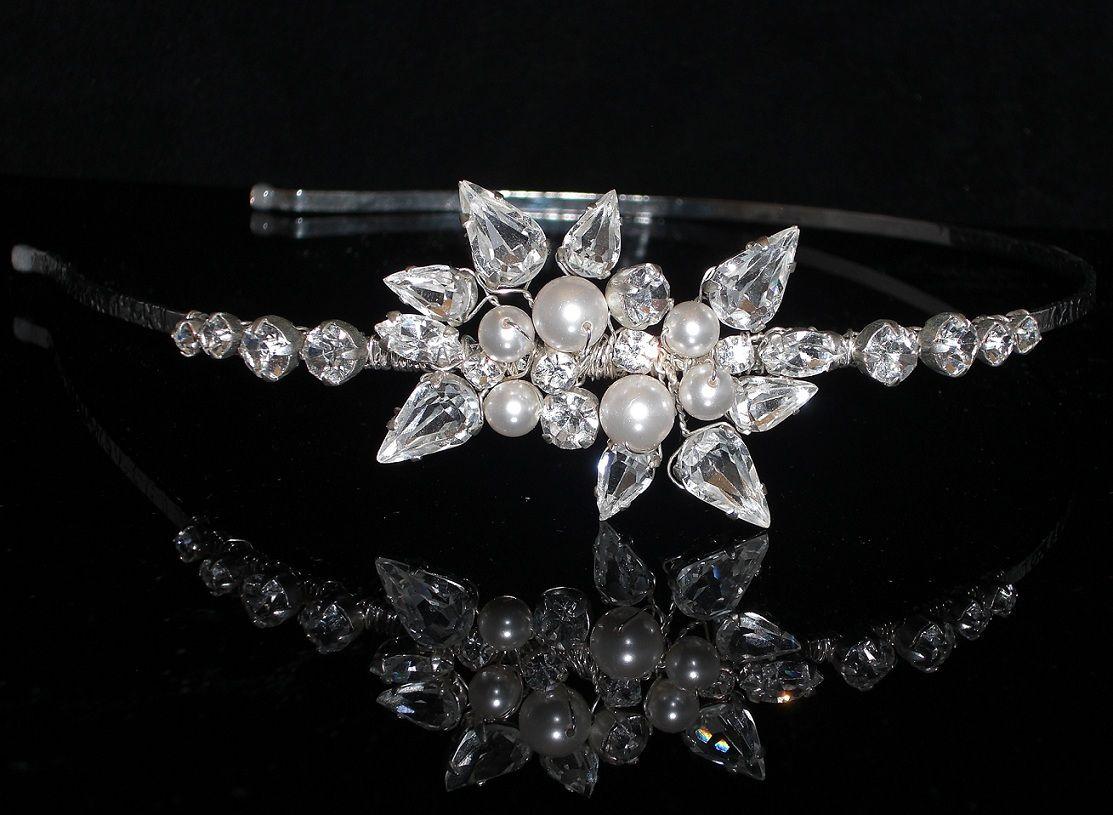 Tiaras wedding side tiara bridal necklace wedding bracelet tiara - Swarovski Diamante Crystal Pearl Bridal Hairband Tiara Wedding Custom Made Flick Side Tiara Hairband Design