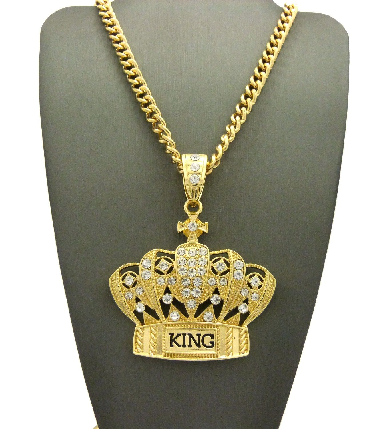 New iced out king crown pendant   36