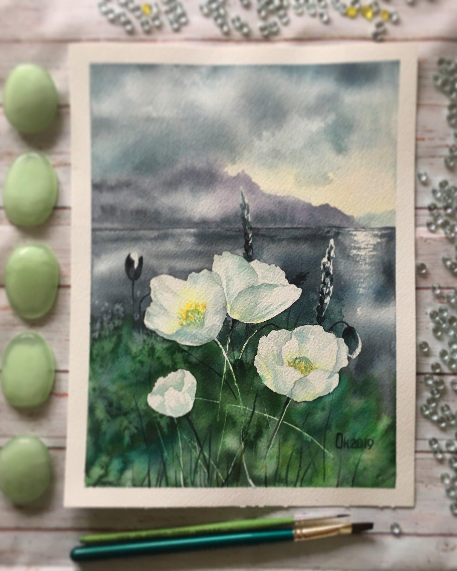 Original Watercolor Painting Wildflowers Flower Flowers Poppy