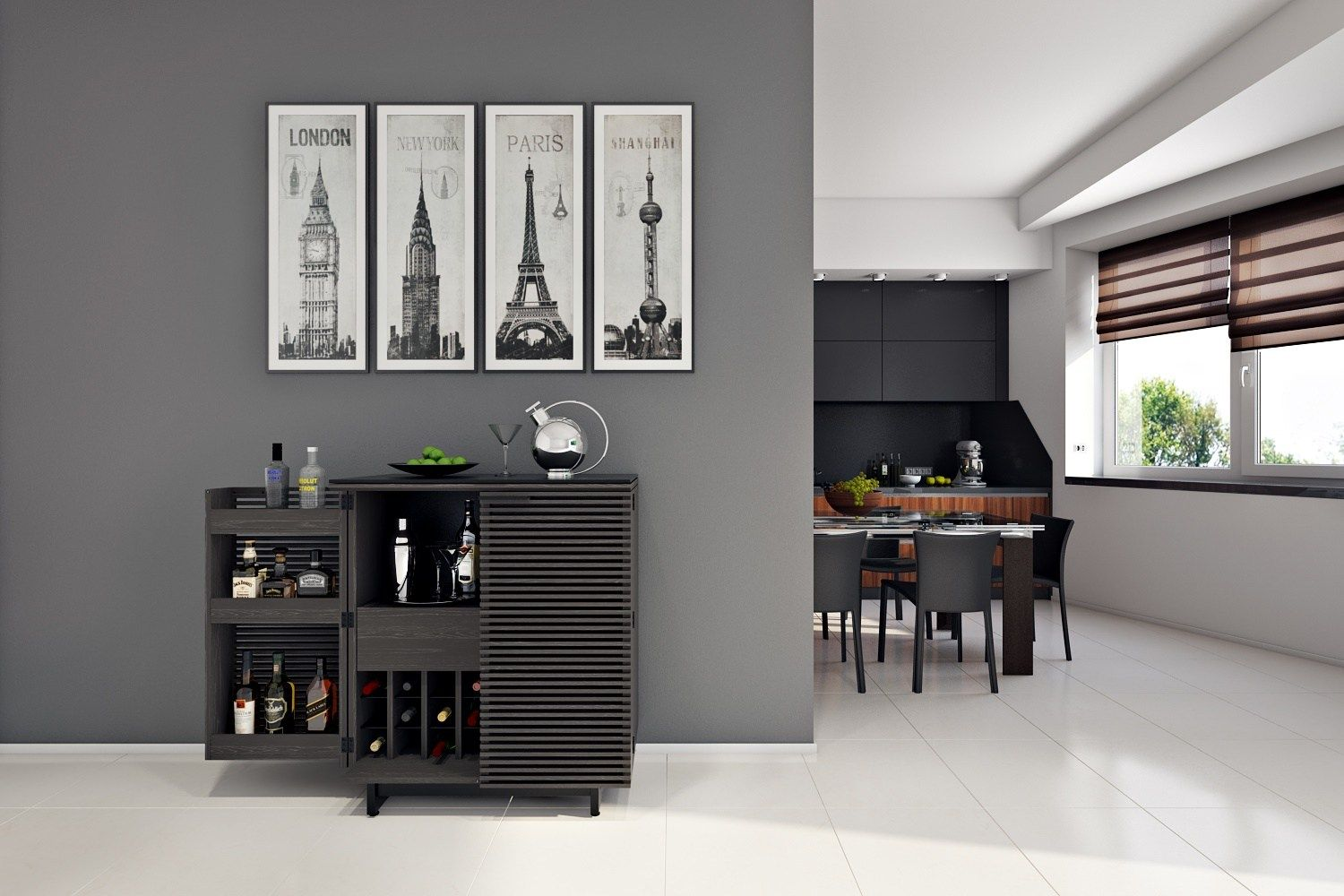 the corridor bar home entertainment bar by bdi in charcoal stained ash finish divertissement