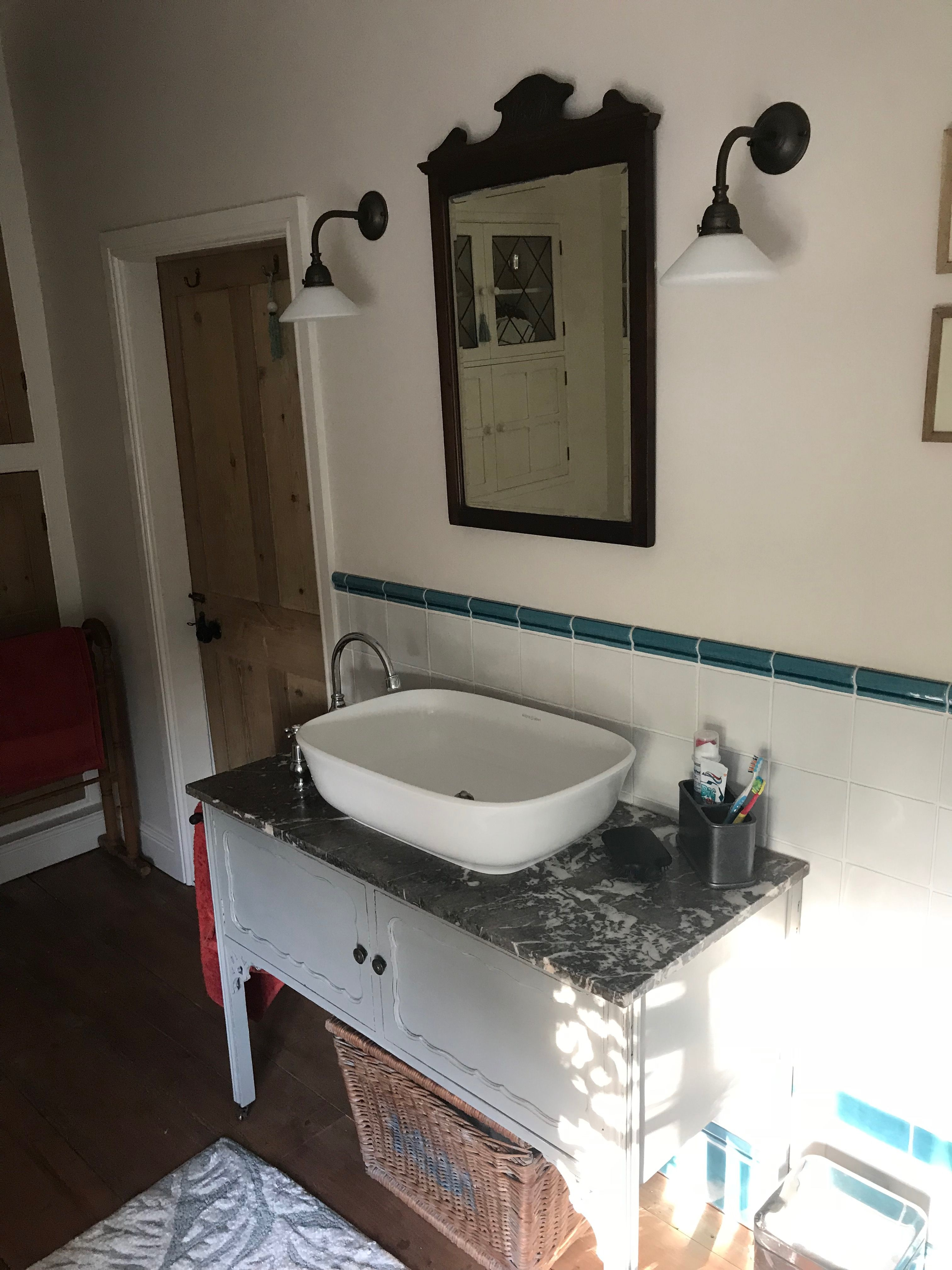 After old vanity with lovely marble worktop vua basin and mirror