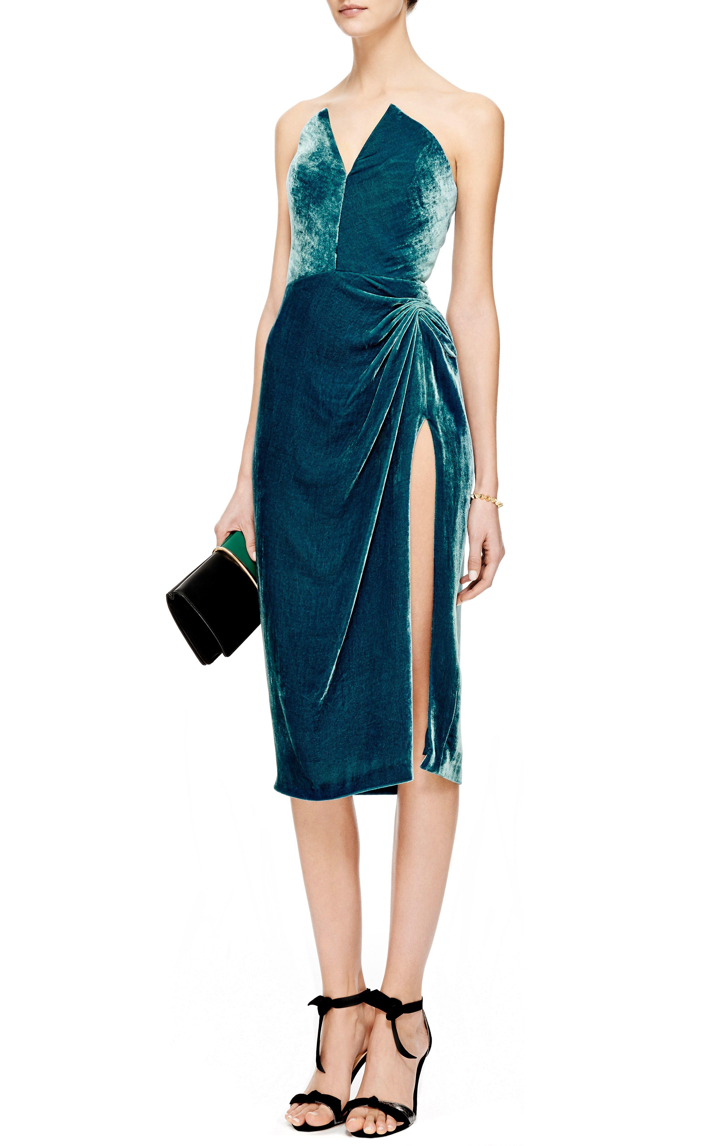 9af2e29d12 Side-Slit Ruched Velvet Dress by Cushnie et Ochs - Moda Operandi