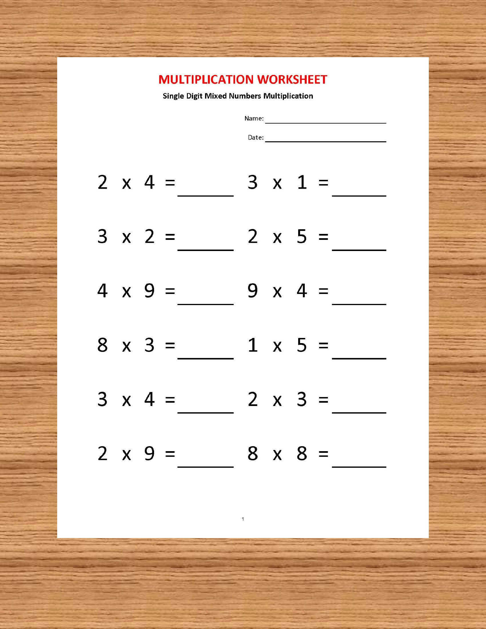 Multiplication Single Digit Practice Worksheets 40