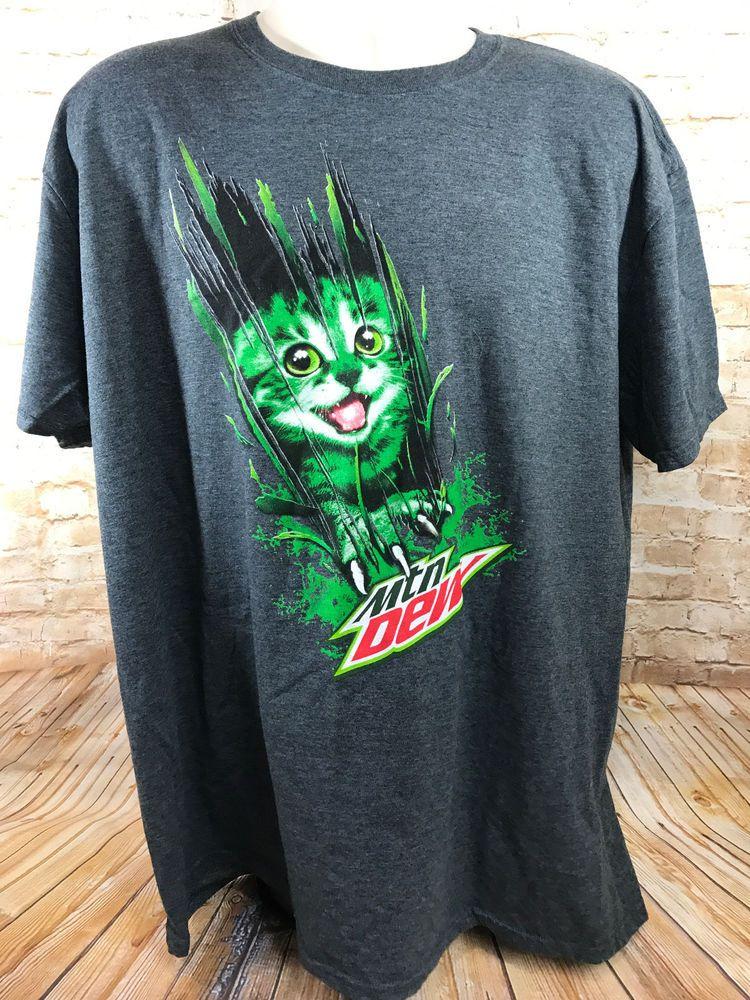 8340b1f3a7da Mens Kitty Cat Clawing MOUNTAIN DEW Green Gray T Shirt Grey  MountainDew   GraphicTee