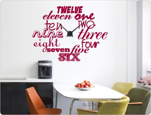 Wandtattoo-Uhr Englische Zahlen Küchenideen Pinterest - wandtattoo küche guten appetit