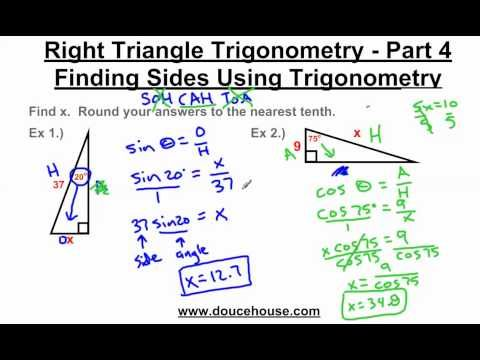 Right Triangle Trigonometry Finding Sides Youtube Trigonometry