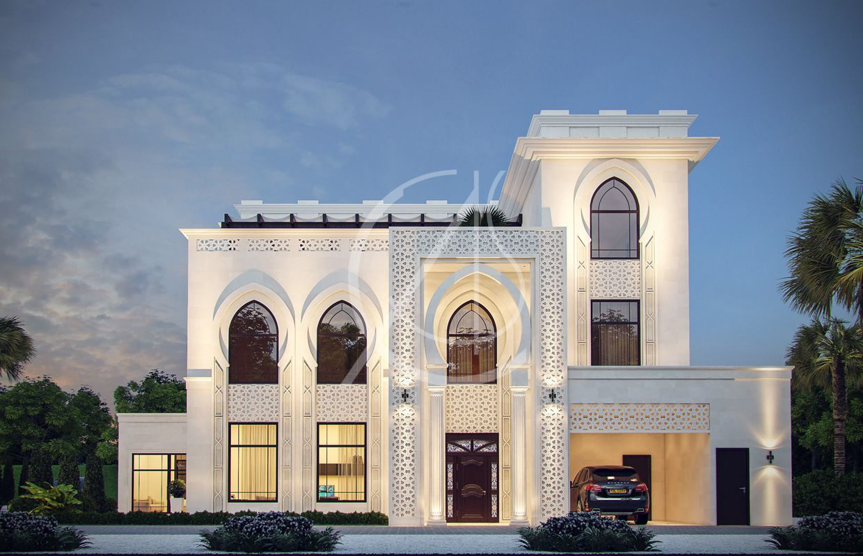 White modern islamic villa exterior design jeddah saudi for Exterior villa design photo gallery
