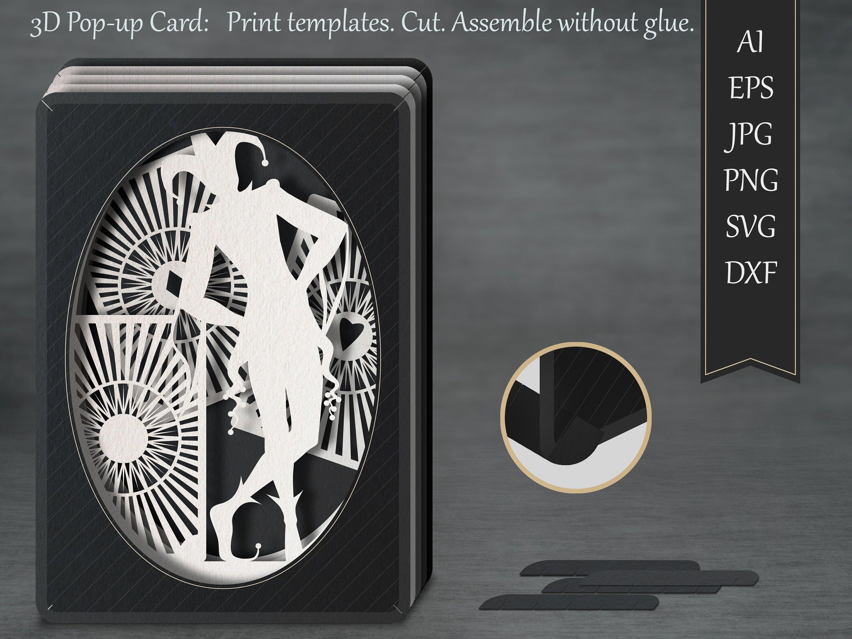 Tunnel Card 3d Pop Up Card Papercut Template Joker Greeting Card