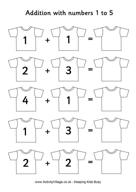 Football Shirts Addition 1 To 5 Math Activities Preschool Kids Math Worksheets Kindergarten Math Worksheets