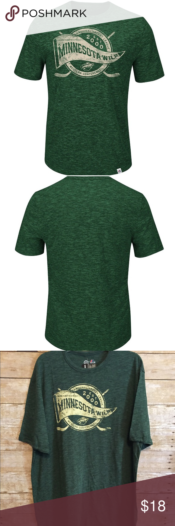 NHL Minnesota Wild Glorious Finish Short Slv Tee, Classic short sleeve crew neck tee, made of a durable cotton blend soft hand print Decoration Majestic labeled with that new and old look - great when out with friends or at the game.  #1 for NHL this season.                                                            Size:  XL.                                                          60% Cotton, 40% Polyester.                           Slub Fabric…