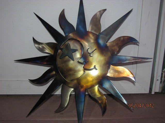Aztec Sun Moon Metal Art 2 Piece Clear Finish Powder