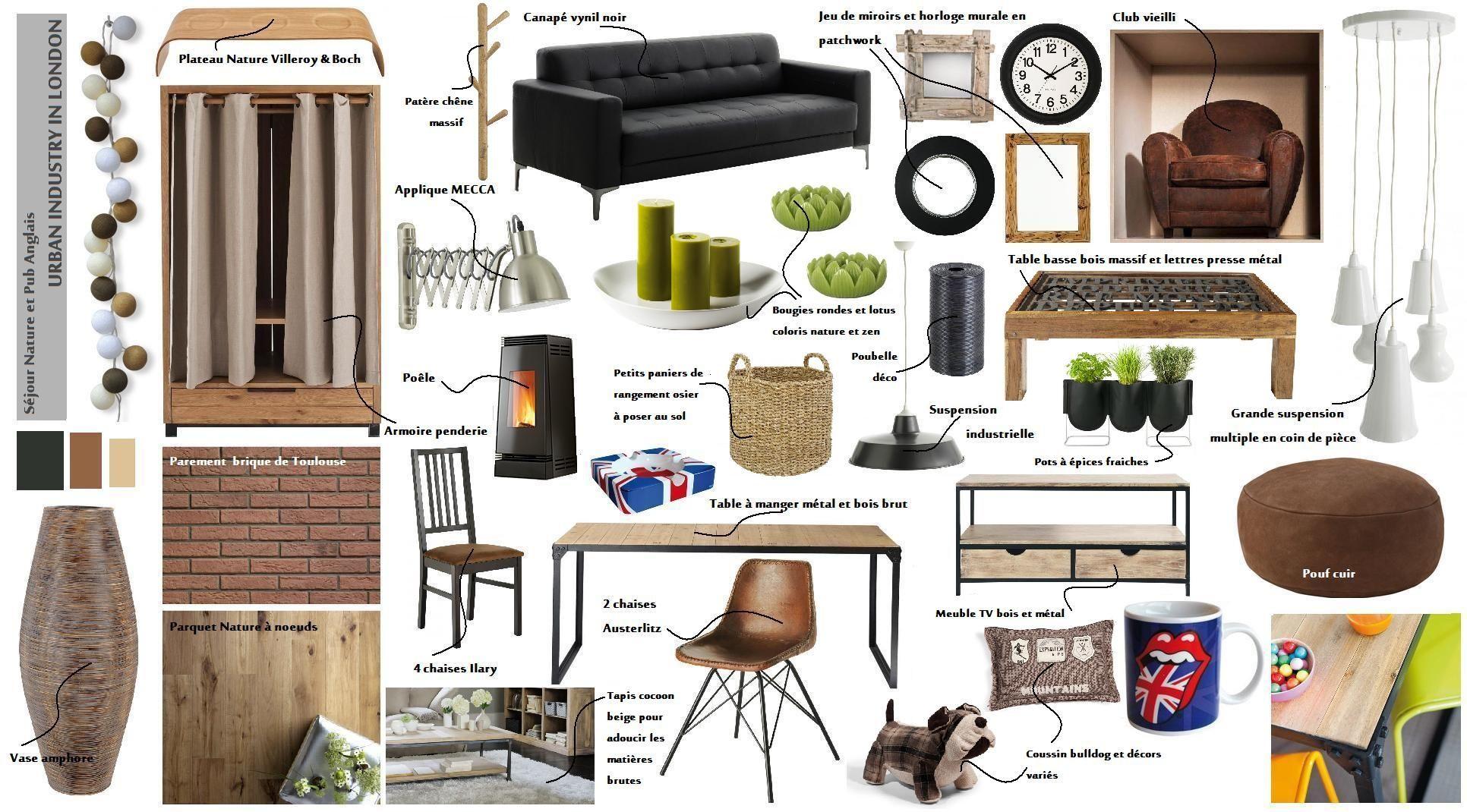 planche de style pour s jour ambiance chaleureuse contemporaine tendance brut wellk 39 home. Black Bedroom Furniture Sets. Home Design Ideas